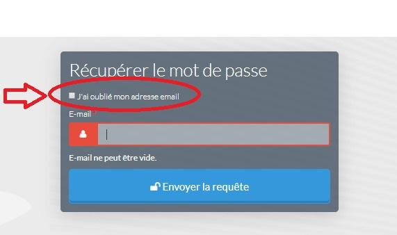 Auto-Entrepreneur : Cocher j'ai oublié mon adresse email pour réinitialiser votre mot de passe